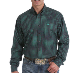 MENS CHOCOLATE BROWN AND GREEN GEOMETRIC PRINT BUTTON-DOWN WESTERN SHIRT , HerraduraDeOro - HerraduraDeOro