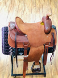 "Roper Saddle with Basket Weave Tooling Full QH Bars Warrantied for Roping 16"". Montura Para Roping"