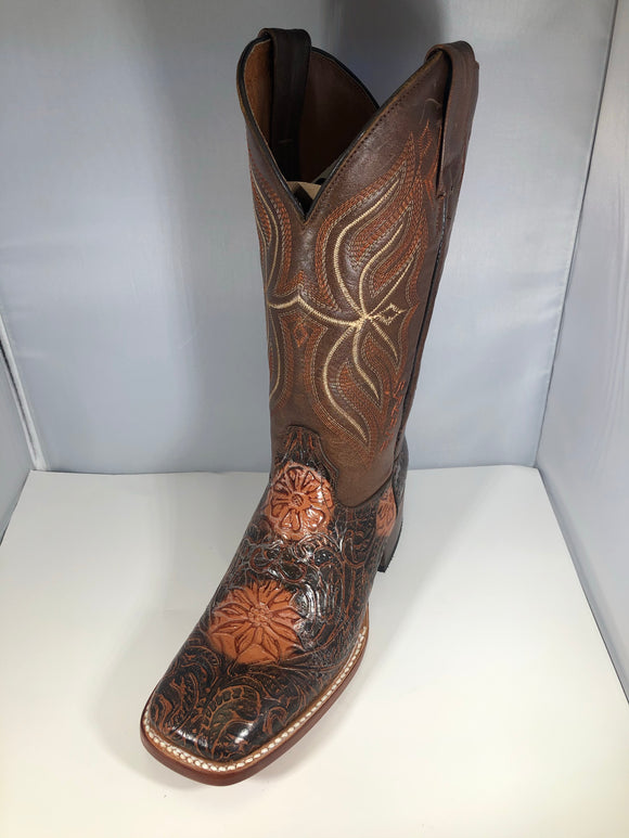 WOMEN DARK BROWN EMBOSSED BOOTS , HerraduraDeOro - HerraduraDeOro