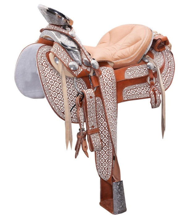 Traditional Specialty Mexican Tan Charro Saddle , HerraduraDeOro - HerraduraDeOro