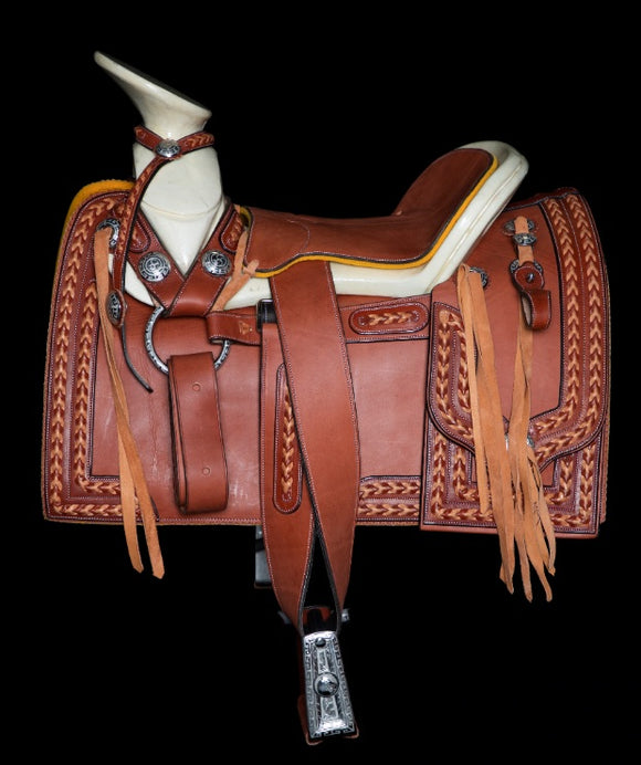 MEXICAN BRAID DARK TAN CHARRO SADDLE , HerraduraDeOro - HerraduraDeOro