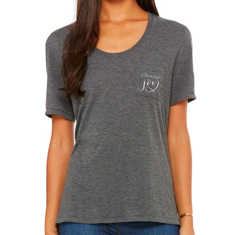 'Choose Joy' Flowy Scoop Neck T-Shirt