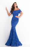 JOVANI Off Shoulder Mother of the Bride Gown Royal Blue Robe mère de la mariée