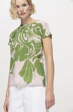 Luisa Cerano Crew Neck Green and Pink Print Blouse