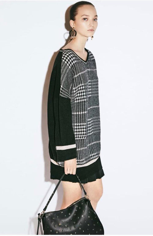 Liu Jo Black and White Plaid Sweater with Lurex