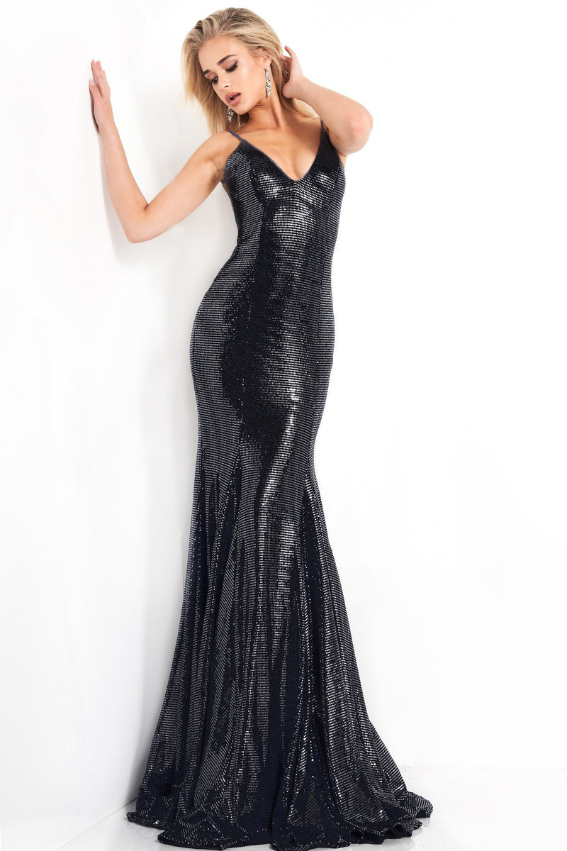 JOVANI Shiny Mermaid Prom Dress Gown Robe de bal noire