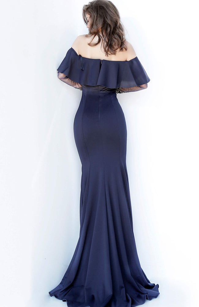 JOVANI Off the Shoulder Evening Gown Navy Robe de soirée Bleu Marine