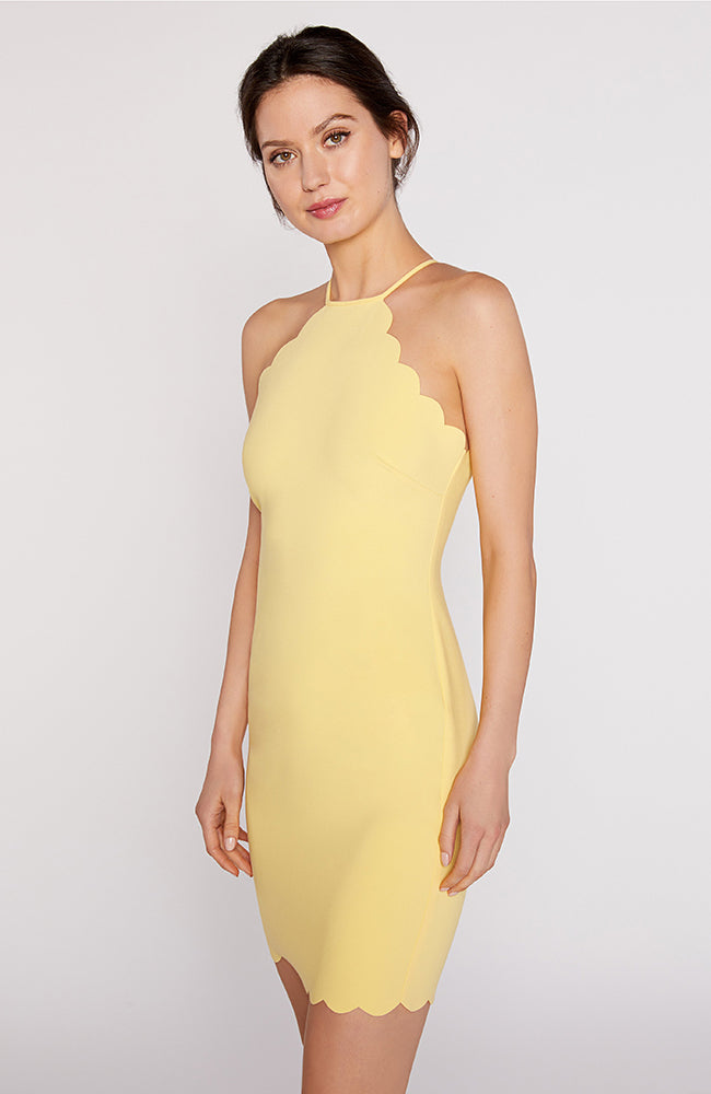 Yellow Halter Mini Dress with Scalloped Details