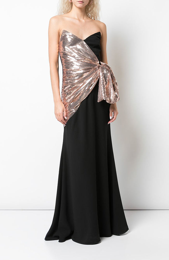 JILL JILL STUART V-neck Gown with Side Sequin Bow Robe de soirée