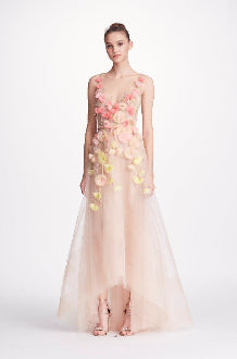 MARCHESA NOTTE V NECK HI LOW 3D FLOWERS