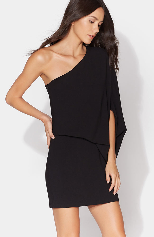 HALSTON Heritage One Shoulder Asymmetric Sleeve Dress Cocktail Dress