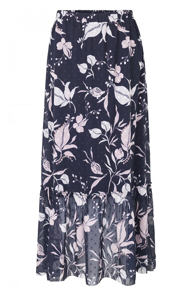 Rosemunde Long Printed Flowy Skirt with Ruffle