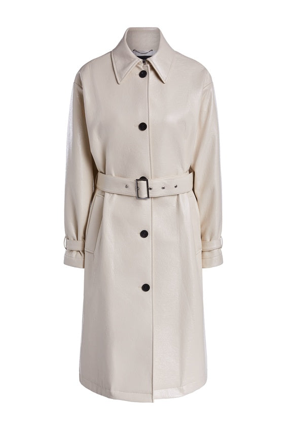 Manteau Cuir Blanc SET Vintage Style Glossy Vegan Leather Trench Coat