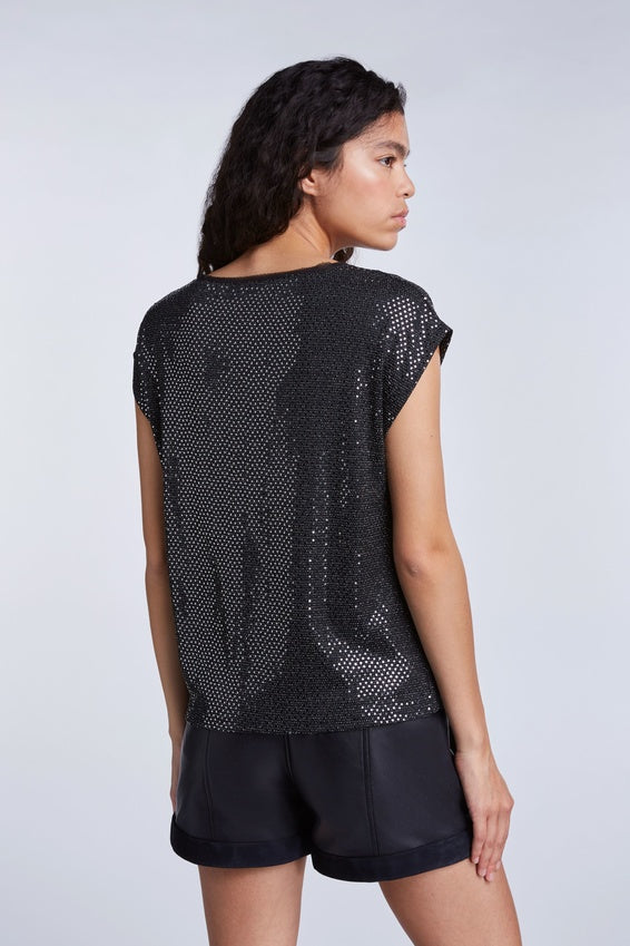 SET Casual Metallic Sequin Shirt Black Silver