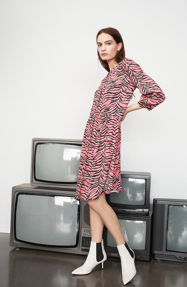 SET V-Neck Pink Animal Print Tunic Dress