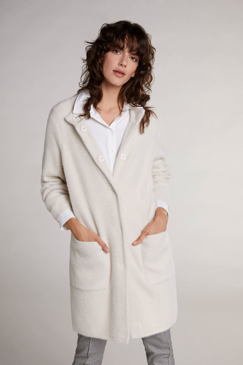 Oui Light Faux-Fur Cardigan with Round Neck