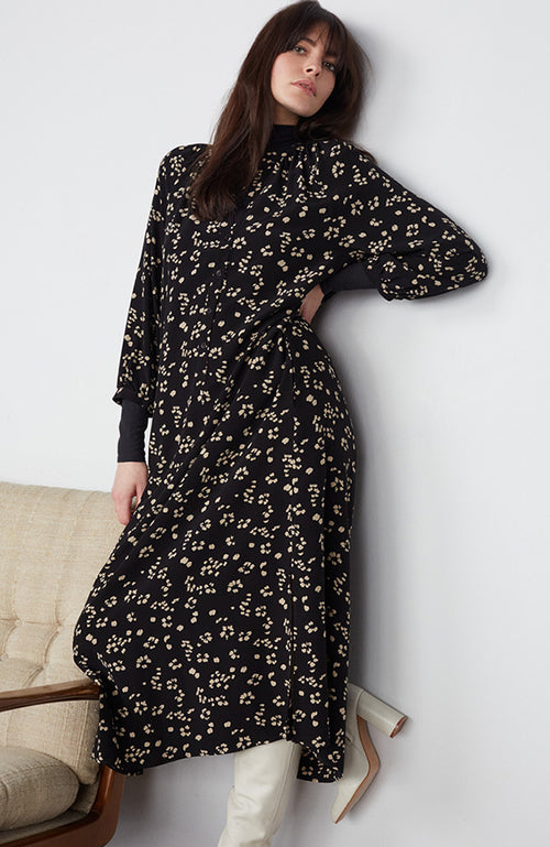 SET Long Sleeve V-neck Dark Print Dress
