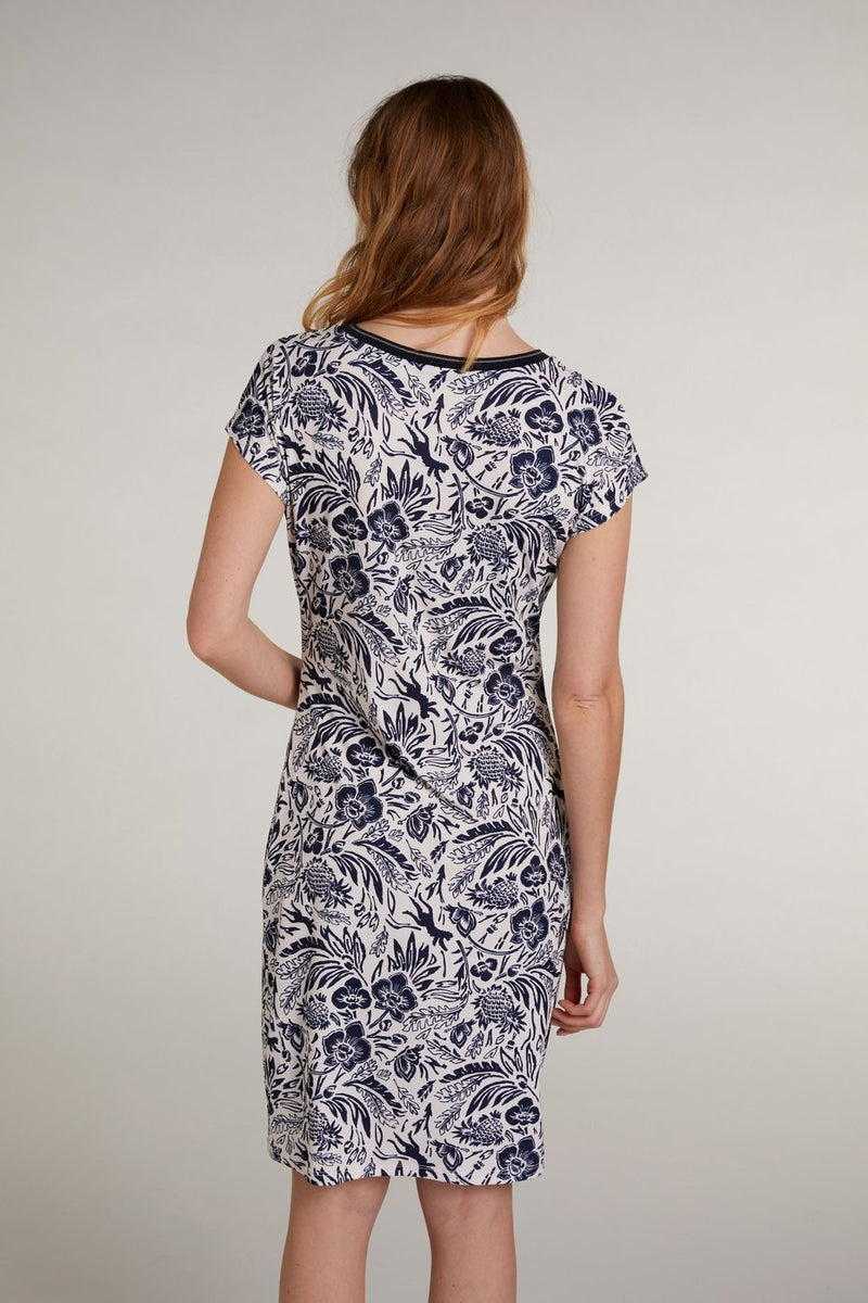 Oui Short Sleeve V-Neck Printed Dress Robe Navy and White
