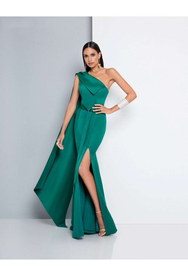 One Shoulder Satin Prom Gown with Side Slit | Robe de Bal à une épaule