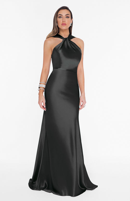 High Neck Black Satin Gown