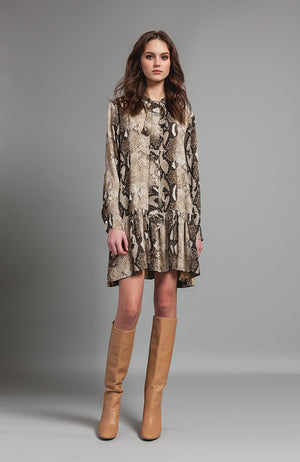 Snake Skin Print Tunic Dress Robe
