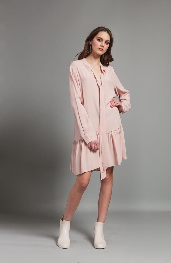 Tie Front Tunic Dress Blush Robe