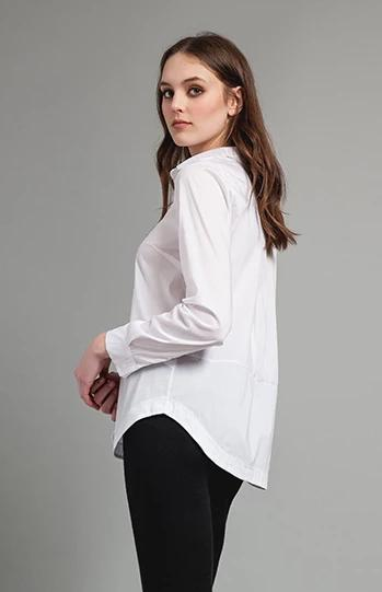 Fine Stretch Cotton Blouse White. Chemisier blanc