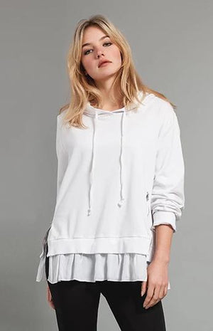 Hooded Sweatshirt with zippers and Voile