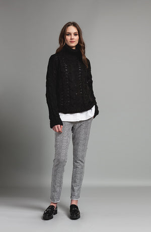 Houndstooth Jogging Pant with Drawstring Black and White. Pantalon en noire et blanc