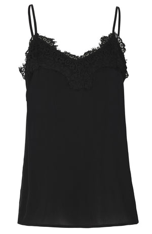 Thin Strap Satin Camisole V-neck with Lace Trim. Cami en satin avec dentelle