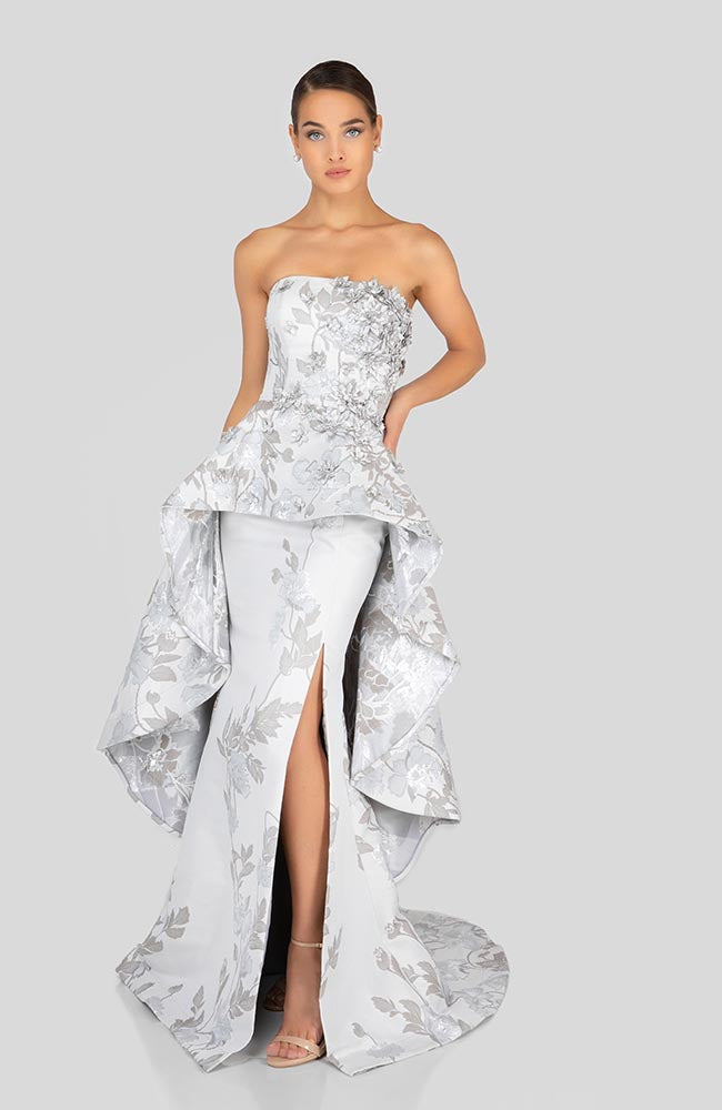 TERANI Strapless Brocade Gown with Flowers and Asymmetric Peplum