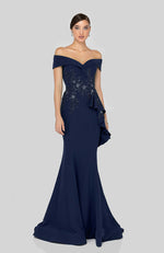 TERANI Off The Shoulder Mermaid Fitted Gown with Beaded Side Ruffle
