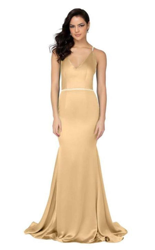 Satin Evening Gown Prom Dress. Robe de bal en satin doré