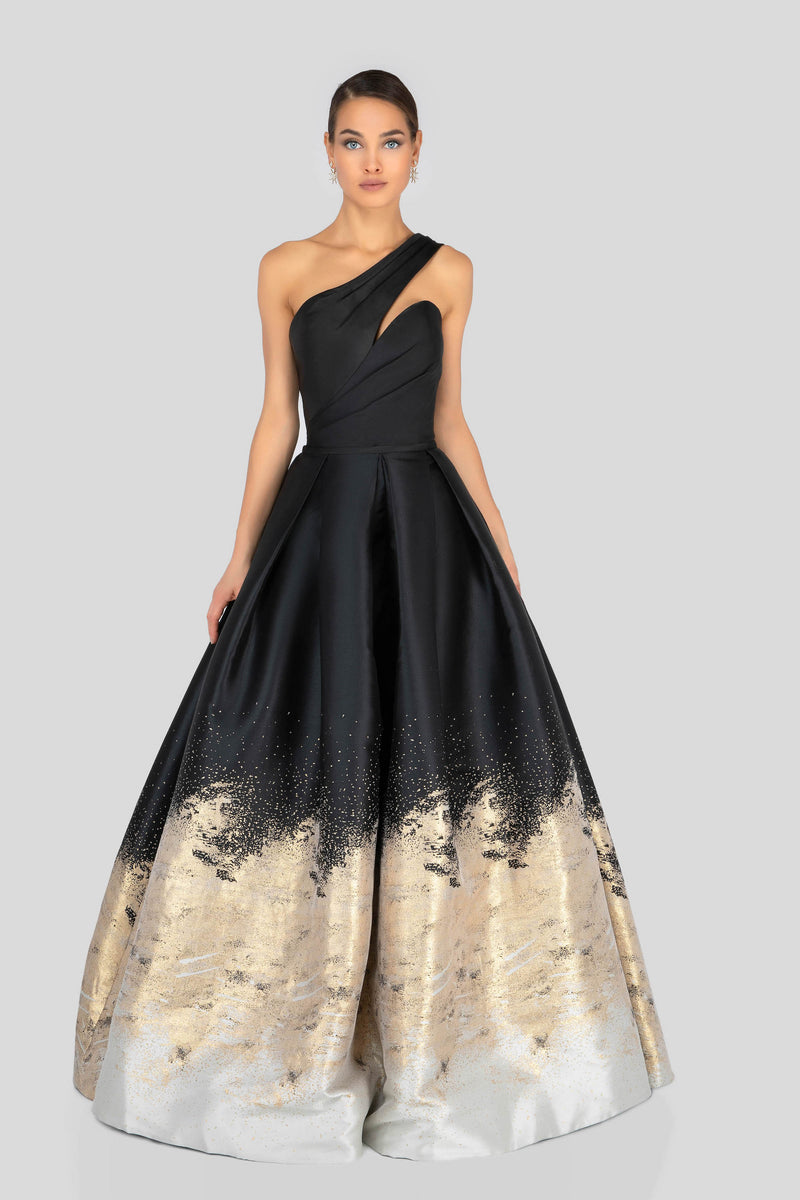 One Shoulder Glitter Print Ball Gown.