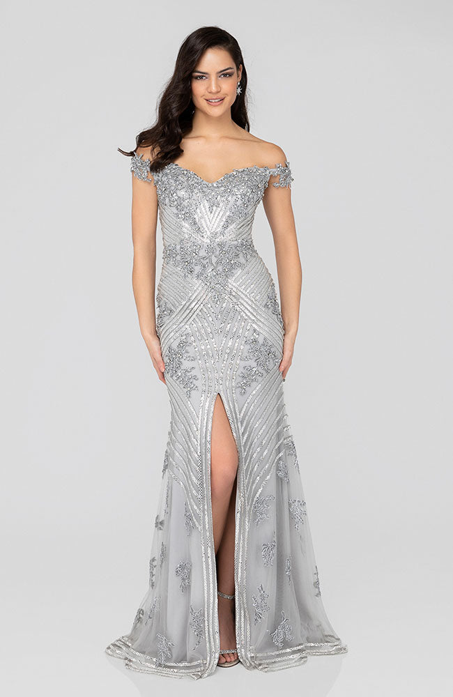 TERANI 1912GL9572 Off shoulder Sequin Embroidered Ombre Gown | Robe de sirène brodée