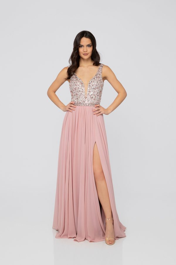 Evening Gown Beaded Top Deep V-Neck Chiffon Skirt Blush. Robe de gala
