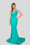 Robe de bal de satin. Fitted v-neck Satin Prom Dress.