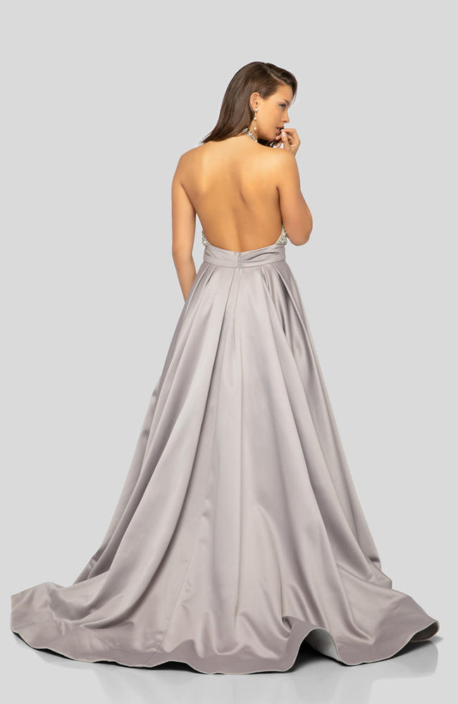 Pearl Top Halter A Line Skirt Princess Prom Gown Robe de Bal