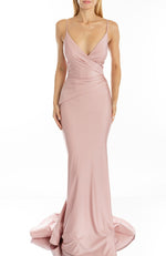 Terani Fitted v-neck draped bust Satin Prom Dress Gold