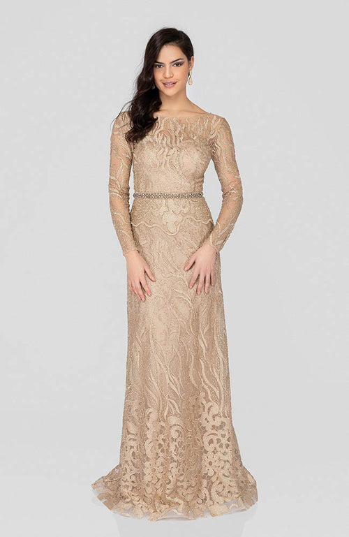 TERANI Long Sleeve Gold Nude Beaded Prom Evening Gown. Robe de Bal avec des perles