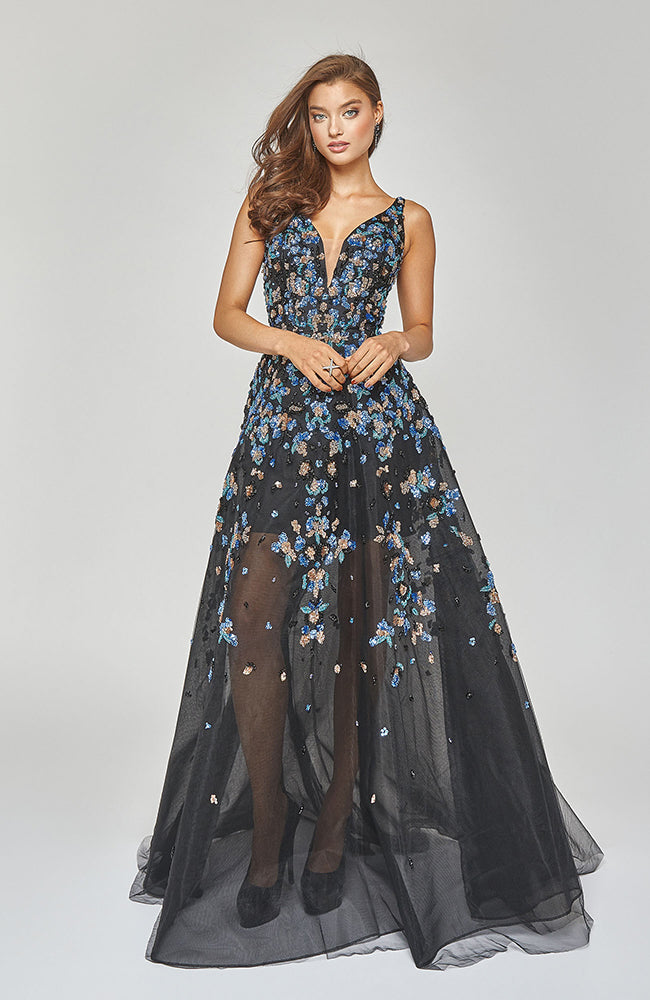 Robe de soirée Bal TERANI  A-Line Prom Gown with Blue Silver Bead