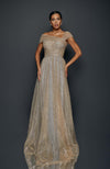 TERANI Off Shoulder Gold Sequin Pleated Gown