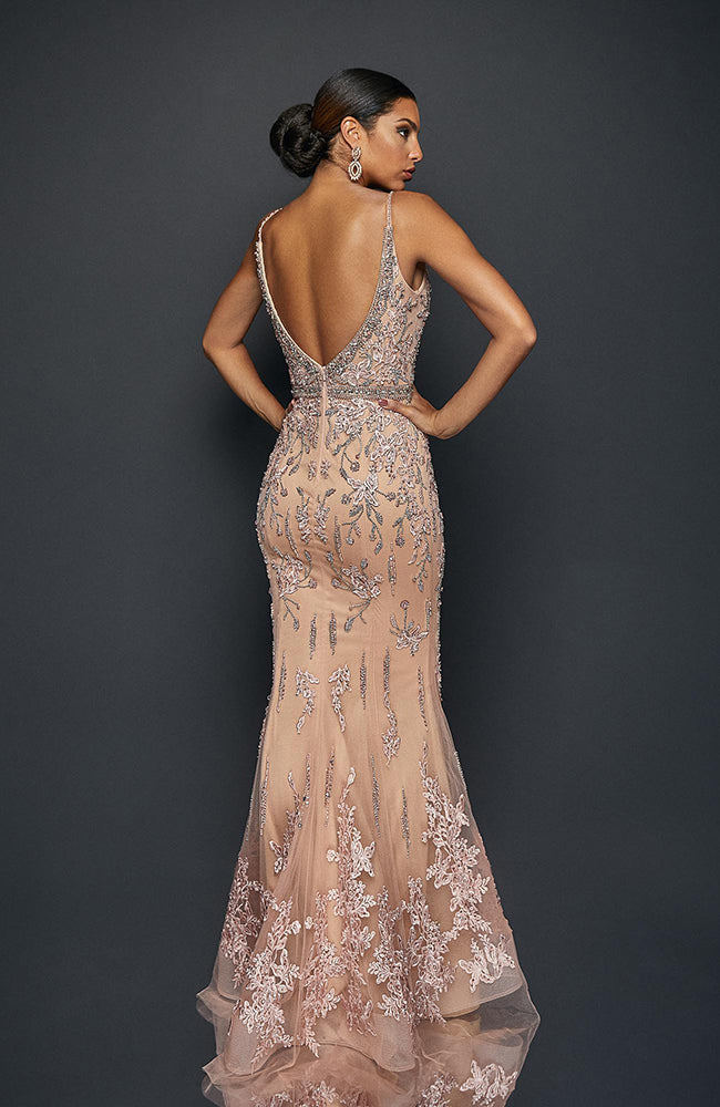 Terani Spaghetti Beaded & Embroidered Mermaid Flowy Sheer Blush Gown