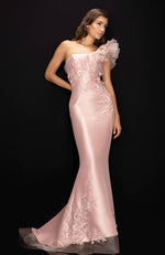 TERANI One Shoulder Mikado Gown with Tulle Ruffle & Embroidered Appliques
