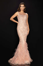 TERANI Embroidered Beaded Evening Gown with Feather Bottom