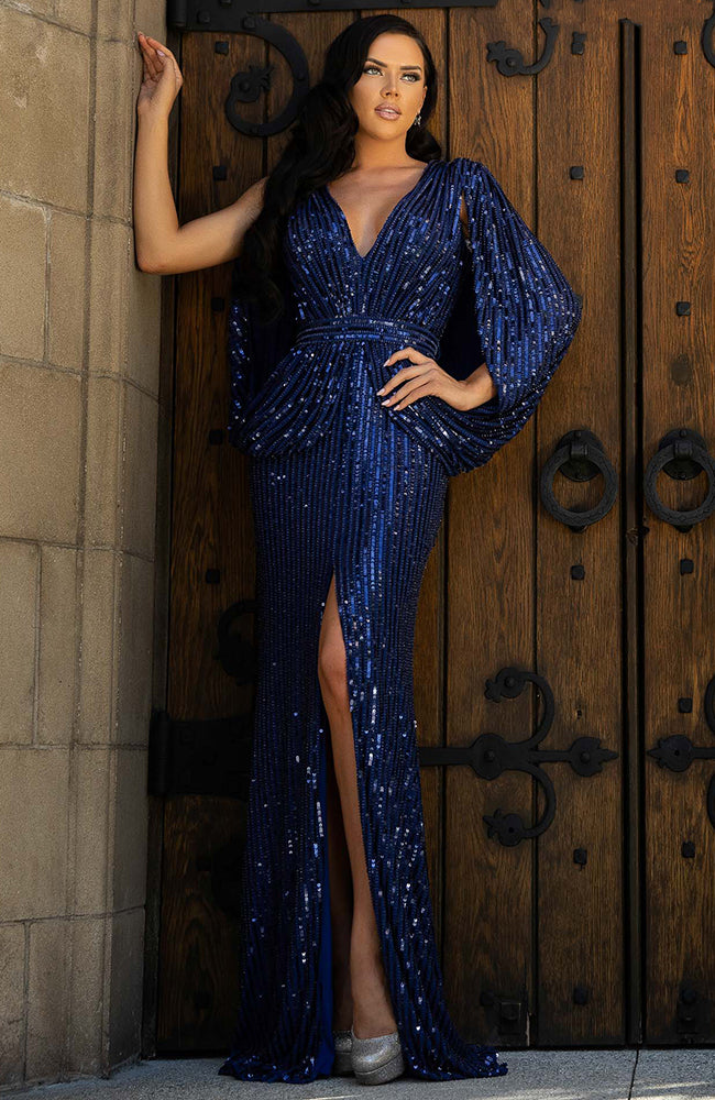 Terani Caped Sparkly Evening Dress Gown with Slit
