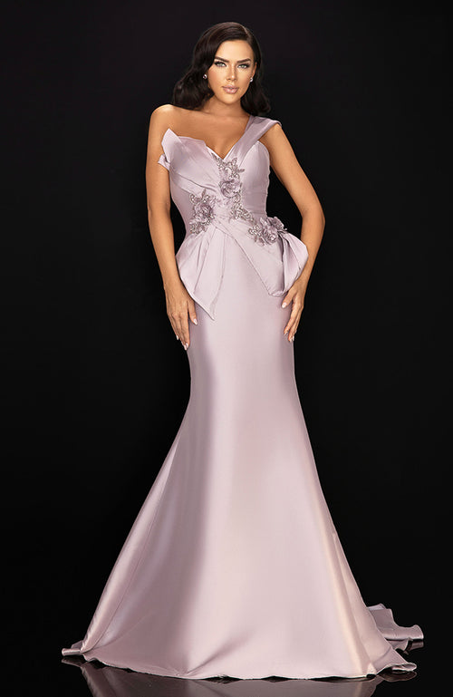 TERANI Off the Shoulder A-Line Gown with Sash 3D Flowers & Beading