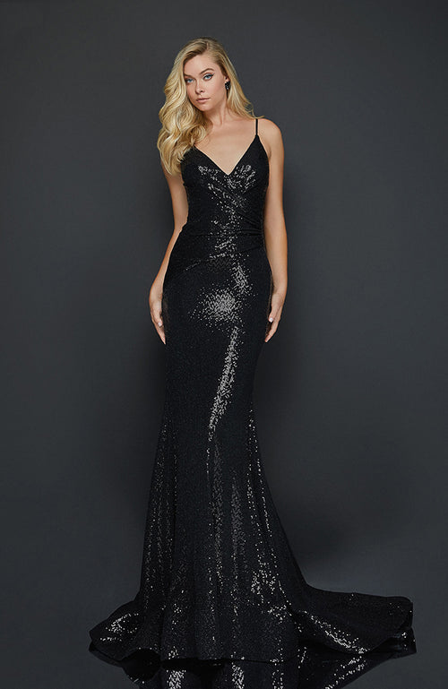 Terani Spaghetti Strap Prom Dress Sexy V-Neck Low Back Mermaid Glitter Gown