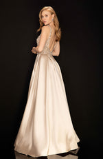 Low Neck Pearl Top Satin Skirt Prom Gown Robe