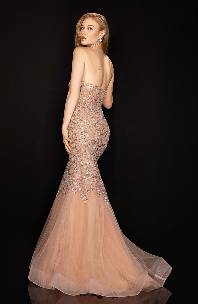 TERANI Strapless Pink Beaded Gown with Sweetheart top and Tull Bottom